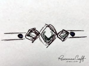 Platinum, Turquoise and Rough Diamond Engagement Ring Sketch