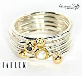 Handmade Stacking Rings in Black Diamond and Pearl, featured in Tatler