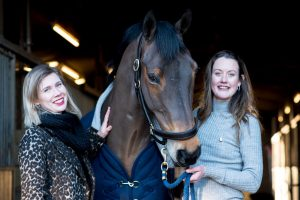 Willa and Roseanna with horse