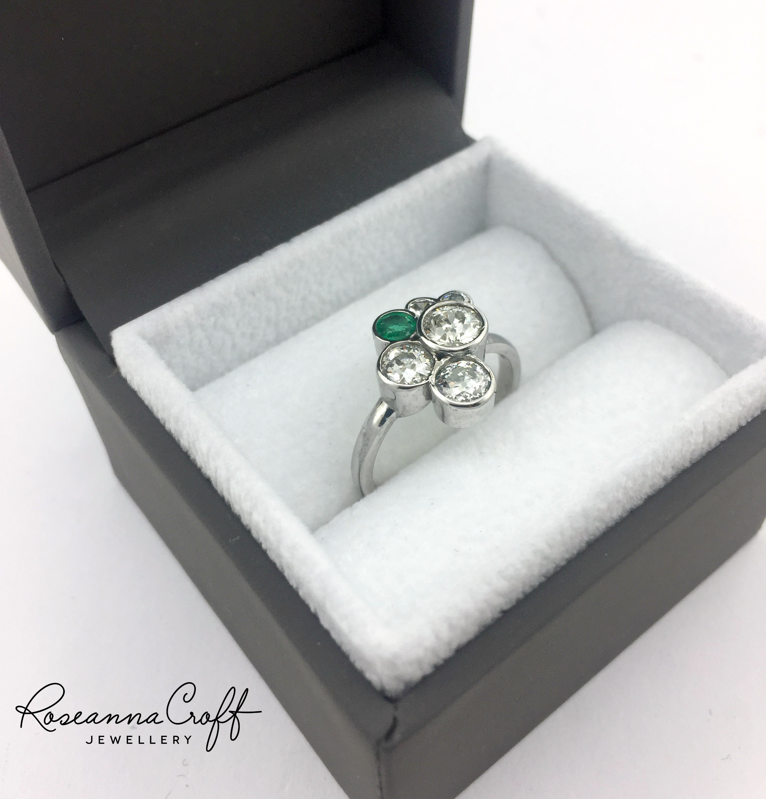 Diamond and Emerald Engagement Ring Redesign by Roseanna Croft Jewellery