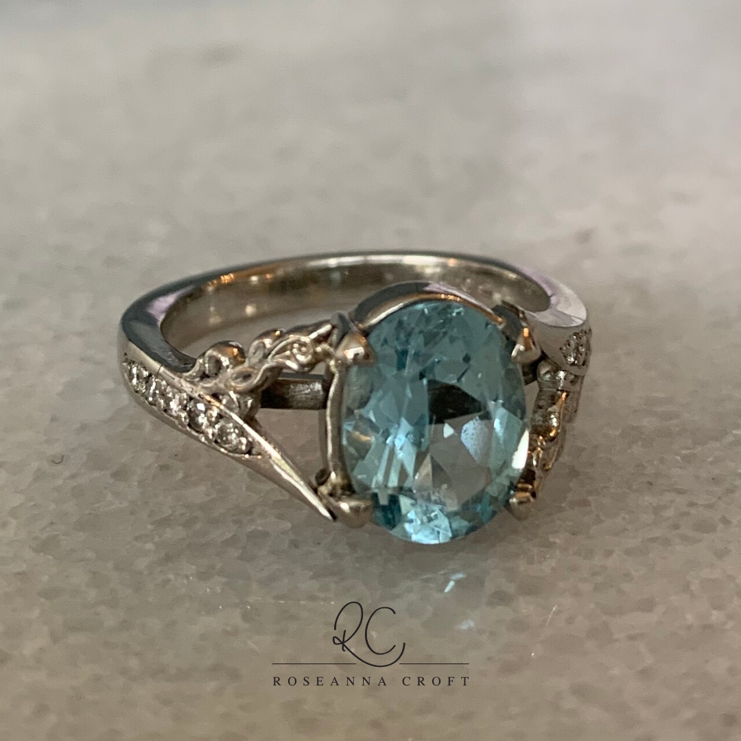 Aquamarine, Diamond and Platinum Engagement Ring