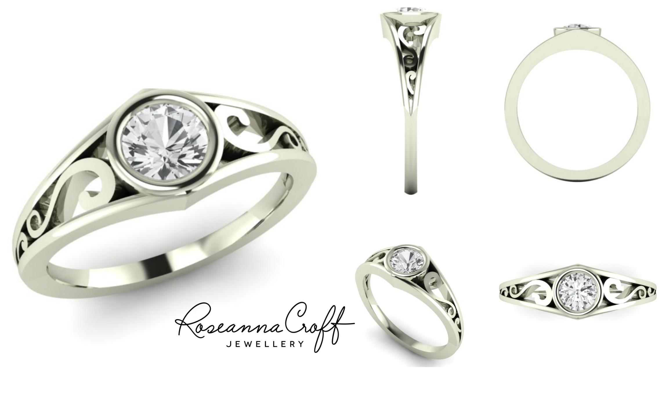White Sapphire Engagement Ring by Roseanna Croft Jewellery