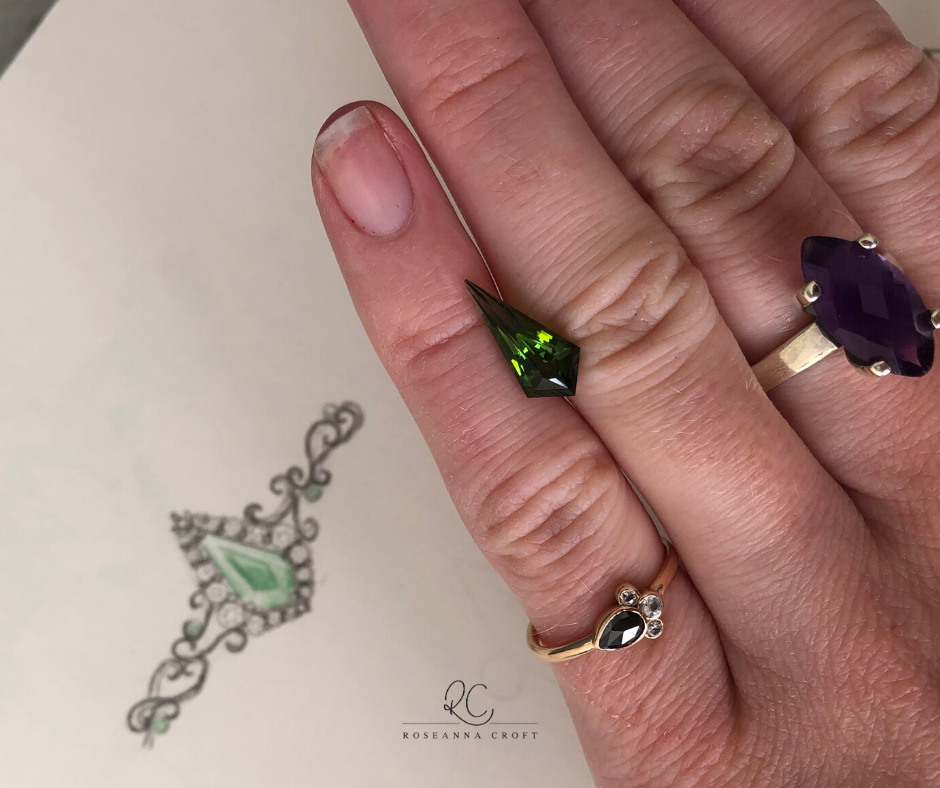 Green Gemstone Engagement Rings