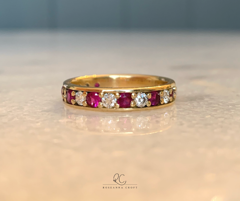 Ruby Wedding Anniversary: Diamond and Ruby Eternity Ring