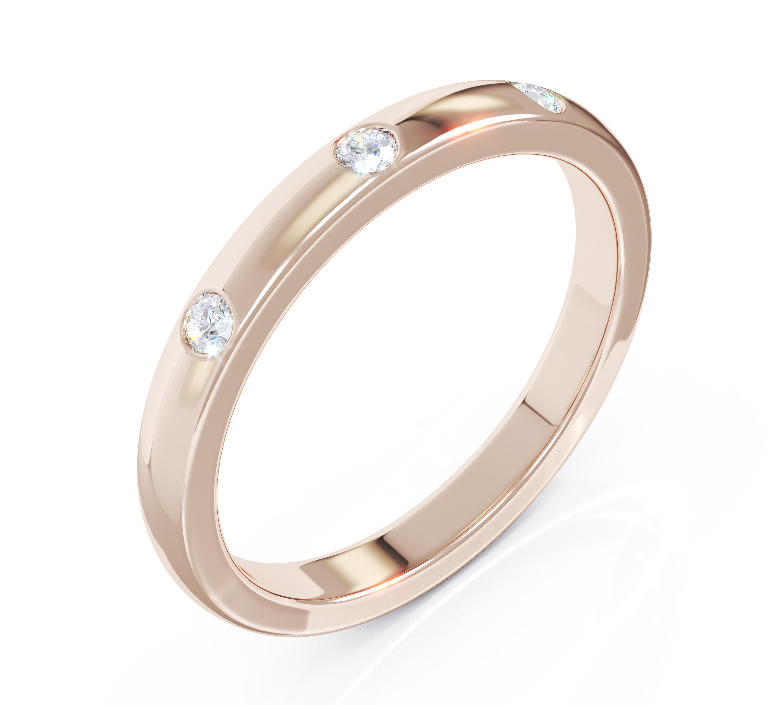 Milestone Ring in 18ct Rose Gold 3 Diamonds