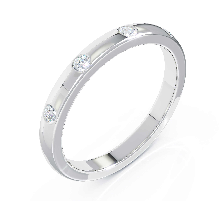 Milestone Ring in 18ct White Gold 4 Diamonds
