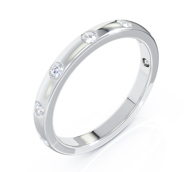Milestone Ring in 18ct White Gold 7 Diamonds