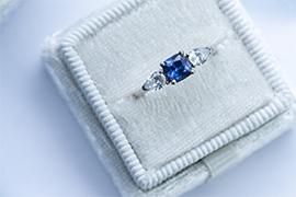 Blue Square Cut Ring